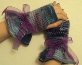 Valentine gloves with purple bow and ruffles of violet and green