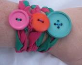 Upcyled button FAbric Cuff Bracelets Rainbow Bohemian Circus Hot Pink Turquoise Tangerine Orange Green