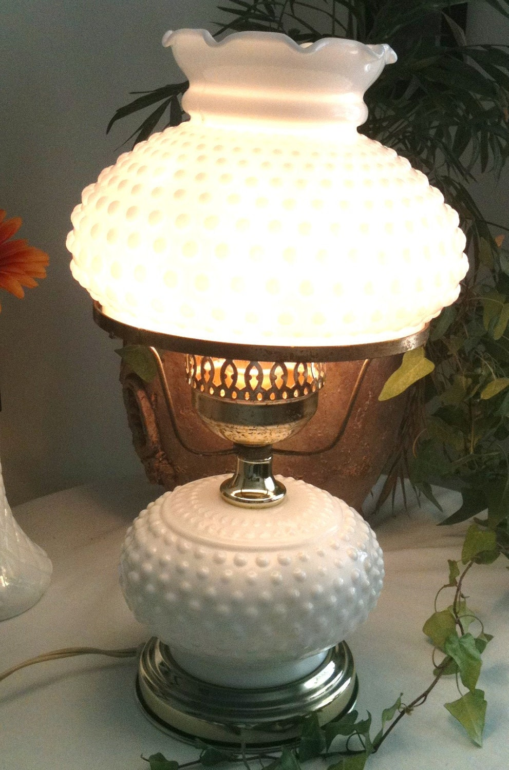 Vintage Milk Glass Lamp 50s Fenton Hobnail Table By