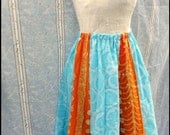 Batik Circle Skirt - Medium - Hand Dyed - Sky Blue and Orange