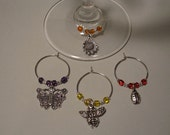 Flower Garden Wine Charms or Cocktail Charms