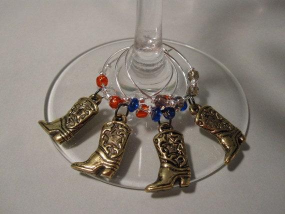 American Cowboy Boots Wine Charm Set