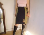 Upcycled Recycled Chairman Mao Graphic Image Pencil Skirt Ready to Ship