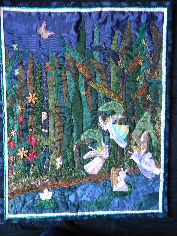 Seeing is Believing, Abstract Fantasy Picture of Fairies in a Landscaped Water Scene, Handmade Wall Hanging Art Quilt