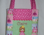 Personalized Children's Tote Bag and Crayon Roll Gift Set Princess