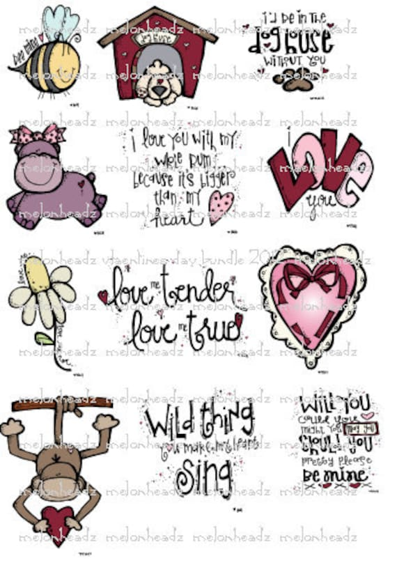 Valentine's day digital stamp bundle