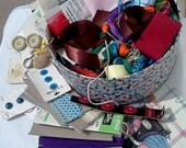 Vintage Sewing Supplies Destash Buttons Ribbons Sewing Tin