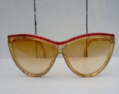 Vintage Catseye Sunglasses 1980s made in France Oversized