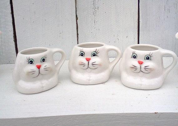 Vintage ceramic bunny cups Animal Figurines Kitsch