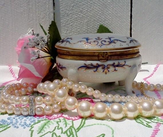 Vintage trinket box blue and white porcelain gold trim 1960's Cottage Chic