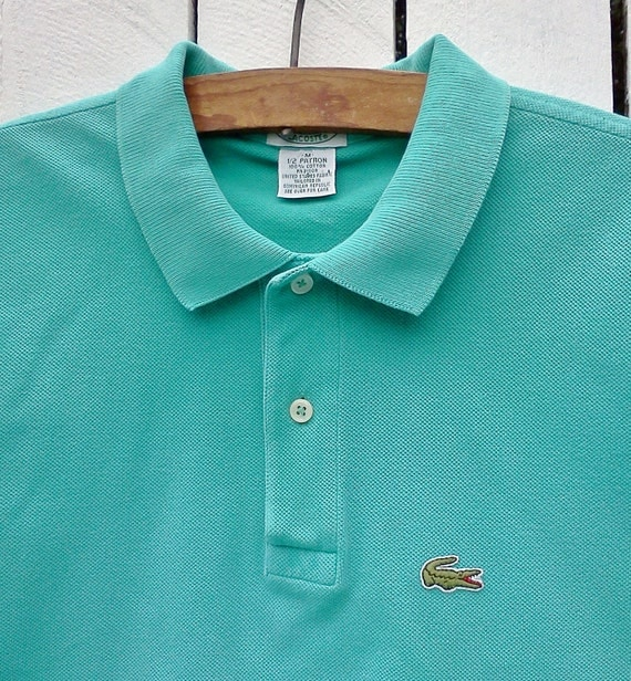 Vintage Mens IZOD LaCoste shirt Aqua size M Preppy goes Geek for Father's Day