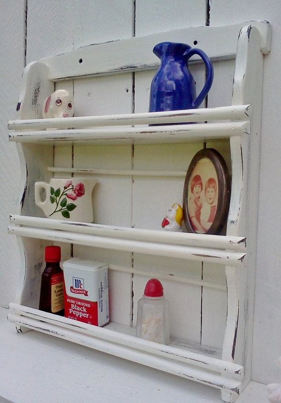 Shabby Chic Shelves Beach Cottage Chippy White Paint Upcylcled Storage Shelf