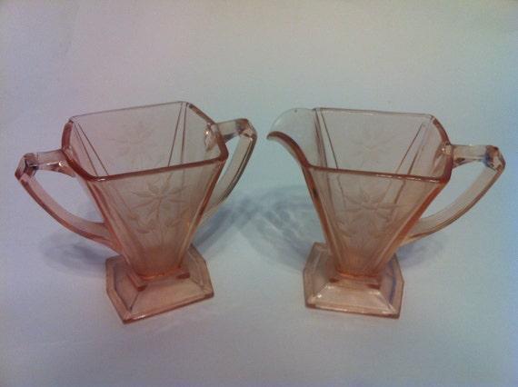 Pink Depression Glass Cream & Suger