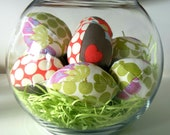 Set of 6 - Modern spring mix Fabric Easter Eggs - Amy a Butler fabric