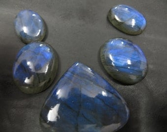 5 Piece Lot Labradorite Full Flashy Blue Fire Mix Shape 1 Piece Pear 4 Piece Oval Good Quality