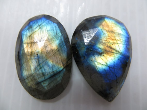 2 Piece Gorgeouse Nice Quality Labradorite Super Sperkle Rose Cut Faceted  Full Flashy  Fire