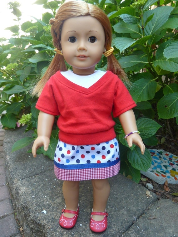 American Girl Doll Clothes - Red, White and Blue for You 3 piece outfit