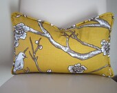 Set 2Decorative Designer Pillow cover-Designer Fabric Dwell Robert Allen Vintage Blossom Citrine Yellow Taupe White Linen Welted reversible