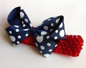 Boutique Hair Bow- Blue with White Polka Dots and Elastic Red Headband