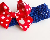 Baby Girl- Toddler Boutique Bow- Elastic Crochet Headband