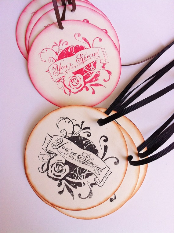 Set of 8 Vintage Style- Gift Tags- Hand Stamped- Round Tags