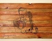 Rustic Wedding Guestbook, Personalized Wedding Portrait Sketch on a Wood Slat Canvas
