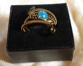 Adjustable Herringbone Wire Ring - Vintage Bronze - Sea Blue Miracle Bead
