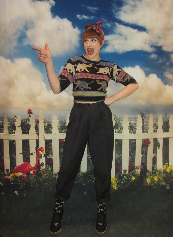 80s High Waisted Paper Bag Pleat Front Pants