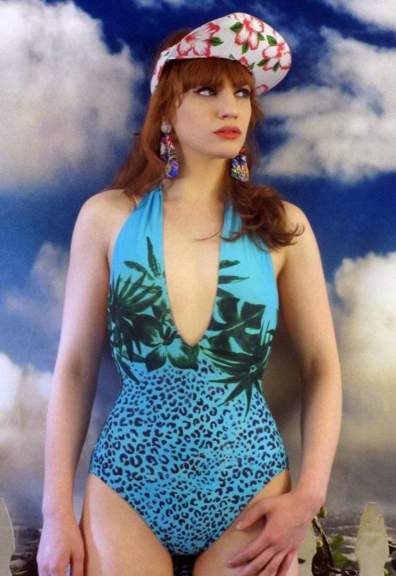 SALE--90s Leopard Seaside Dream Halter Lisa Frank Bathing Suit