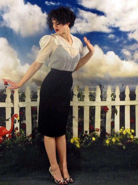 30s Sheer Swiss Dot Portrait Collar Avant Garde Puff Sleeve Blouse