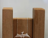 Solid silver Pterodactyl necklace. Dinosaur chain.