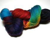 "Hand-painted Sock Yarn ""Catalina Macaw"" Superwash Merino"