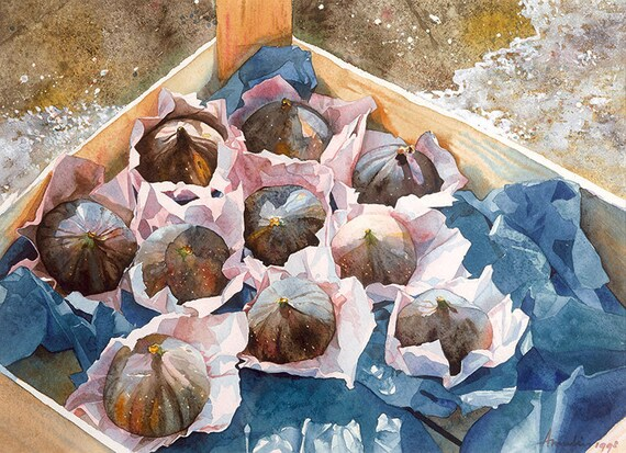 wrapped figs in a crate Watercolour Giclée print