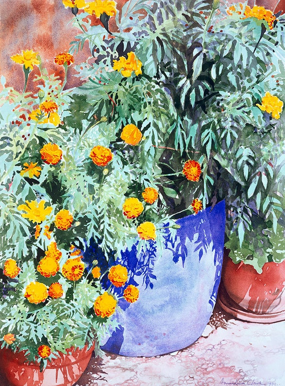 Blue and Terracotta flower pots with yellow orange flowers, Watercolour Giclée print