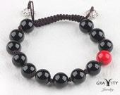 Coral Cloud - 7.1 inches 10mm Obsidian and Blood Stone Bracelet.