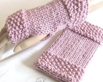 hand knitted pink fingerless gloves