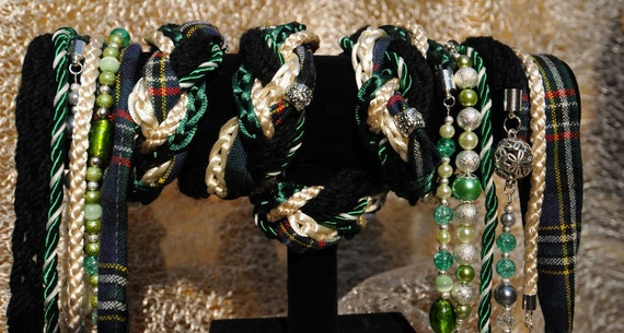 Handfasting cord in tartan, cream and hunter green satin, with pearls, glass beads and crystals