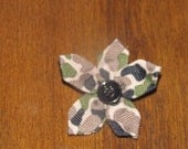 Camouflage flower hair clip