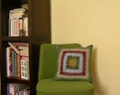 Granny square and linen cushion cover