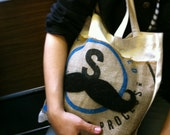 Felted Coffee Bag Canvas Tote- Decaf- Mustache