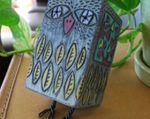 Who Do You Love Recycled Woodblock Owl