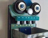 Teal Toothy Recycled Robot Hanging Storage Box