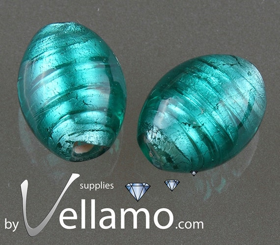 Blue Murano glass beads, oval shaped, about 20mm x 14mm, 2 pieces