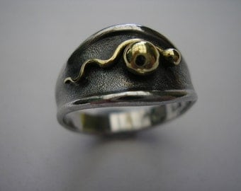 Fertility Ring 2 Sterling Silver and 18k Gold