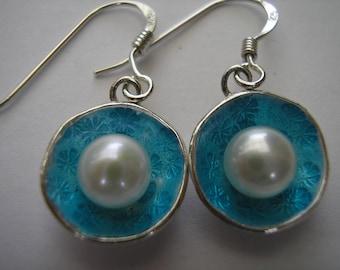 Pearl Turquoise Semi-Transparent Enamel Earrings