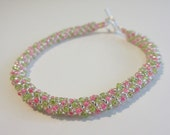 Beaded Bracelet- Pink and Lime Green