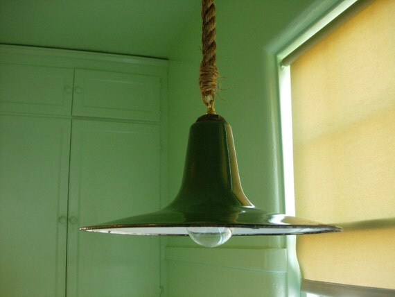 ANTIQUE WAREHOUSE SHADE - Vintage Porcelain Enamel Warehouse Fixture Suspended with Double Cable Rope