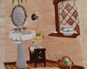 Bathroom Scene  Embroidered on Linen