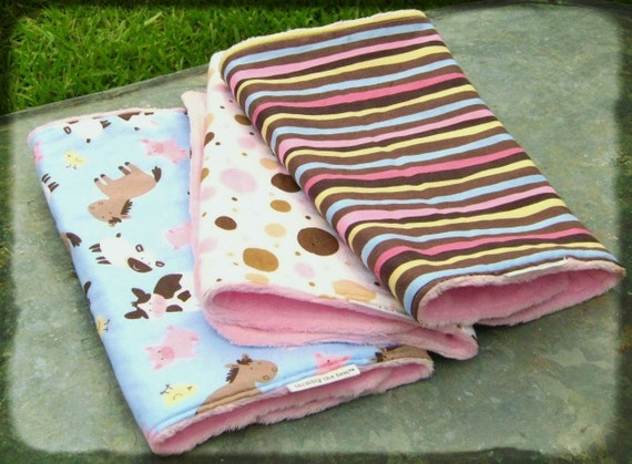 CUSTOM for TIFFER Burp Cloth: Baby Burp Cloth Set, Baby Shower, Baby Girl Gift, Minky Burp Cloth, Pink Brown Blue White Yellow Black