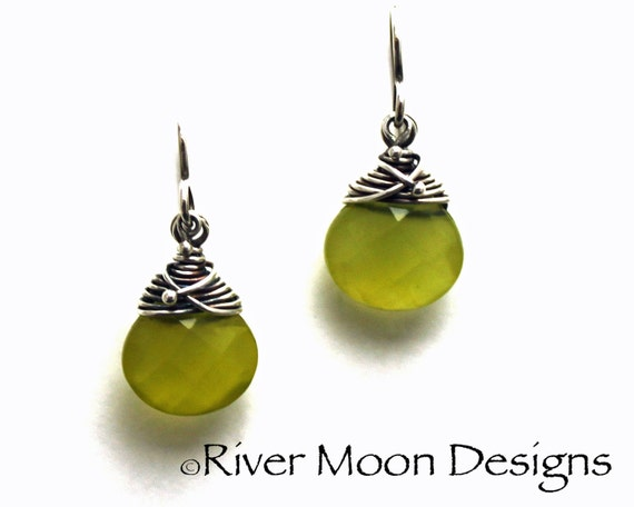 Olive Vine - Olive Quartz and Sterling Silver Earrings